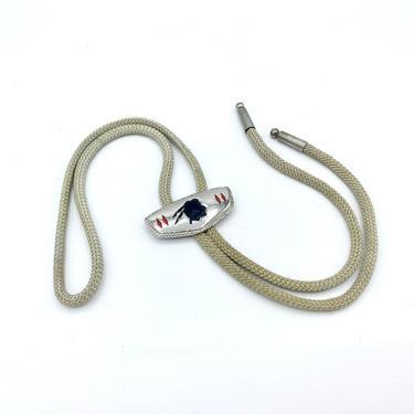 Vintage 1950s Hickok Bolo Tie, Silver-Tone Metal w/Native American Brave, Rockabilly Necktie, Southwestern String Tie, Cowboy Cord Tie by RanchQueenVintage