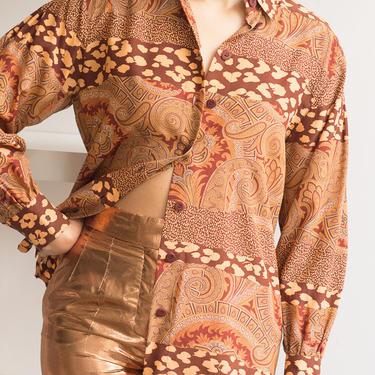 1980s ESCADA Paisley and Leopard Silk Blouse by waywardcollection