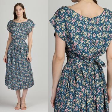 90s Teal Floral Ankle Length Dress - Large | Vintage Grunge Short Sleeve Button Back Midi Sundress by FlyingAppleVintage
