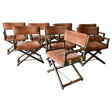Suede, Brass and Oak Directors Chairs by Lyda Levi for McGuire, circa 1960
