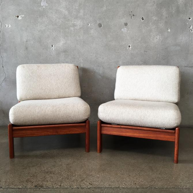 Pair of Walnut Mid Century Upholstered Chairs