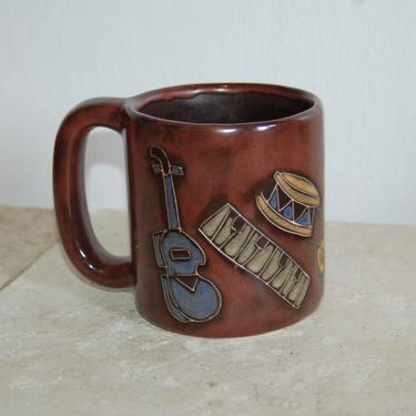 Dancing Musical Instruments, Guitar, Keyboard, Drum, Saxophone ~ large Mara Mexico 20 oz. Pottery Mug ~ Mara Chocolate Brown ~ Pictorial Mug by YesterdayAndTomorrow