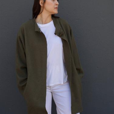 Vintage Olive Green Cozy Oversized Relaxed Fit 100% Wool Coat by MERCER and MADISON by SonjloVintage