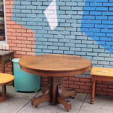 Round Oak Pedestal Table. 48