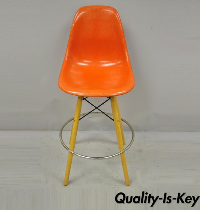 Herman Miller Eames Orange Fiberglass Side Shell w Modernica Case Study Barstool