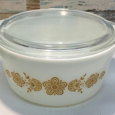 Pyrex Butterfly Gold Casserole Dish #474 by JoyfulHeartReclaimed