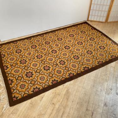 Vintage Rug Flat Woven Alpaca Llama Peruvian Guatemalan Geometric Quilt by 330Modern