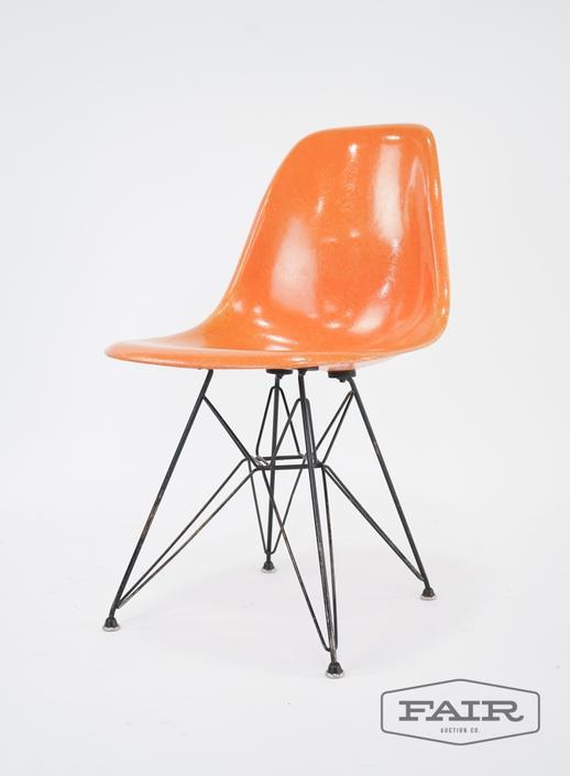Orange Eames Shell Chair on Eiffel Base