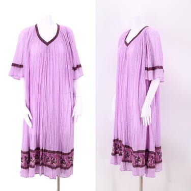 70s lilac INDIA cotton caftan L / vintage 1970s sheer gauze loose pleated kaftan dress XL by ritualvintage