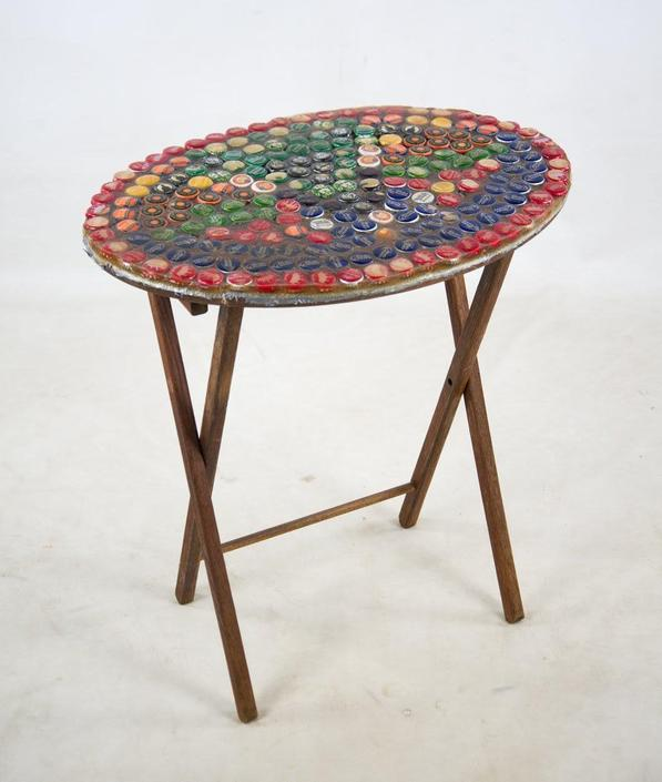 1970s Folk Art Bottle Cap X Frame Side Table by BluffStProps