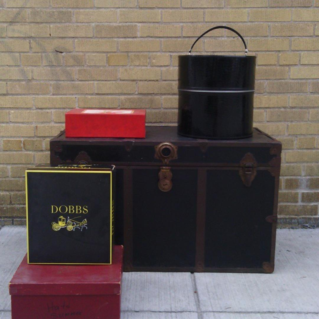 Black Tin Travel Trunk From Bentley 39 S Vintage Furniture Attic