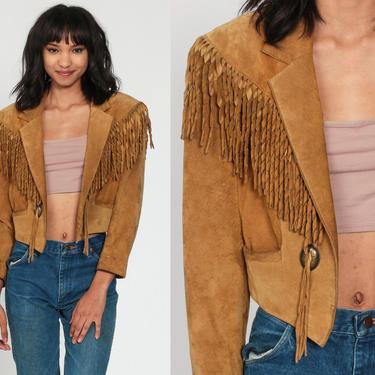 Fringe Leather Jacket 80s Brown Suede Jacket SOUTHWESTERN Cropped Jacket Boho 1980s Vintage Biker Western Coat Bohemian Hippie Women Small by ShopExile