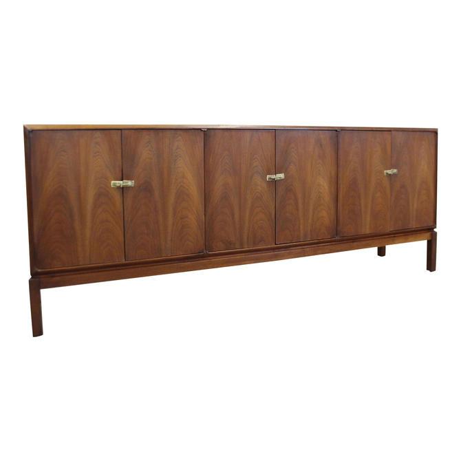 Vintage Mid-Century Modern/Danish Modern Long Walnut Credenza w/ Brass Latch Pulls by AnnexMarketplace