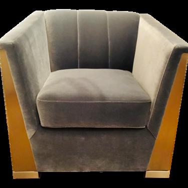 Caracole Modern Gray Velvet Vector Club Chair