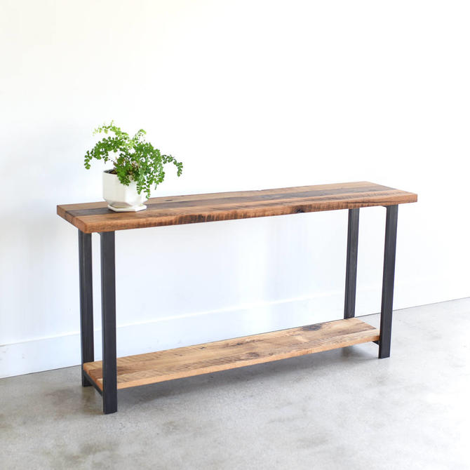 Farmhouse Console Table with Lower Shelf / Reclaimed Wood Entryway Table / Sofa Table - SHIPS FREE! by wwmake