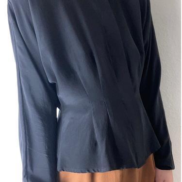 vintage black silk peplum style blouse medium by miragevintageseattle