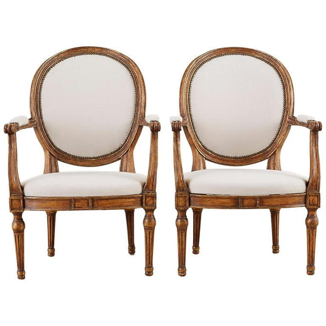 Pair of French Louis XVI Style Carved Fauteuil Armchairs by ErinLaneEstate