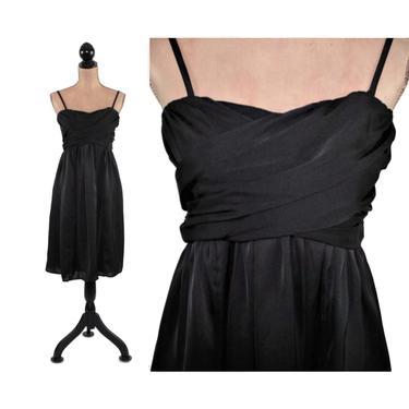 90s Black Midi Dress Medium, Empire Waist A Line, Spaghetti Strap or Strapless Cocktail Dress, 1990s Clothes Women, Vintage Clothing by MagpieandOtis