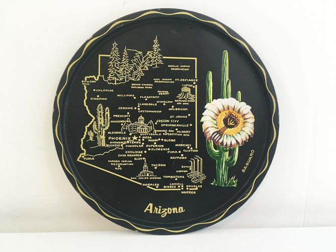 Vintage Metal Arizona Drink Tray Plate Souvenir Retro Round Mid-Century Barware Black White Green Gold Saguaro Cactus Bar by CheckEngineVintage
