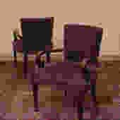 Antique Purple Fabric Arm Chairs
