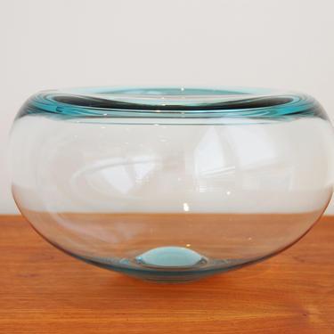 Royal Copenhagen Large Crystal Glass Bowl Light Blue Per Lutken 27cm by MidCentury55