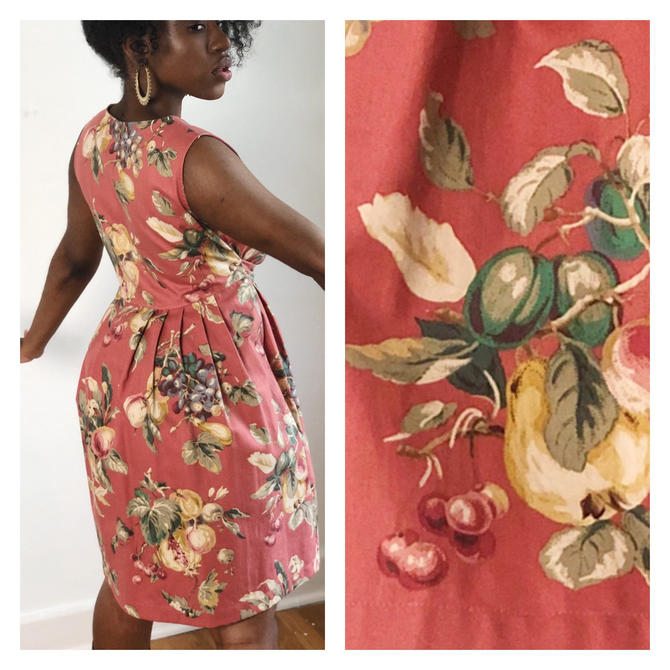 Vintage 1980s 1990s 90s Cotton Pleated Day Sun Dress Fruit Grape Cherry Print Minimalist Nature Floral Sleeveless XS S Keepers by KeepersVintage