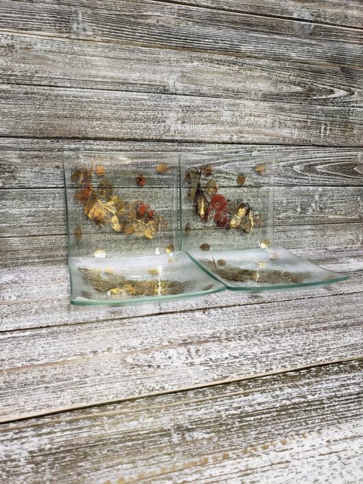 Vintage Gay Fad Salad Plates, 24K Gold Glass Trays, Oak Leaf & Acorn Decorative Trays, Vintage Decor, Mid Century Modern, Vintage Kitchen by AGoGoVintage