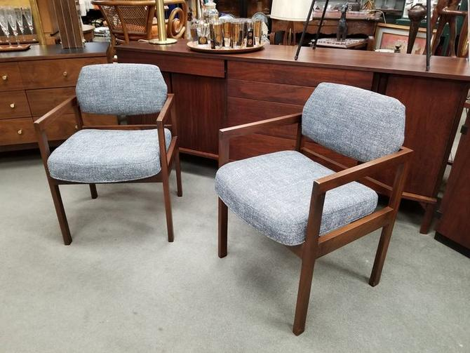 Mid-Century Modern walnut arm chairs with new navy and white tweed fabric