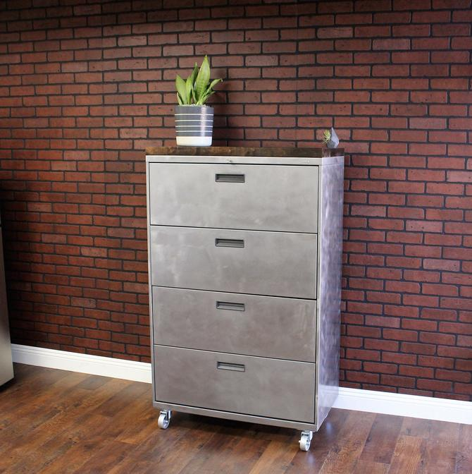 Refinished Large 4 drawer Metal Filing Cabinet w/ Wood Top  / Dresser / tool storage / Office Storage / Cabinet Rustic / industrial by TheRusticForest