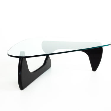 Isamu Noguchi for Knoll Mid Century Ebonized Wood and Glass Coffee Table - mcm by ModernHill