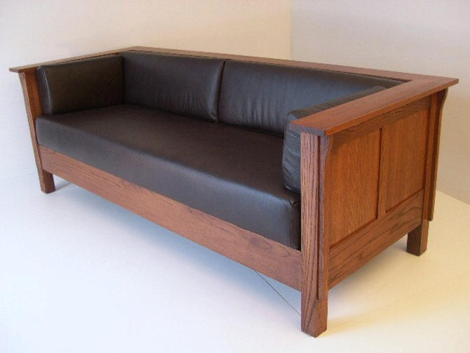 Mission Arts and Crafts Stickley Style Prairie Panel Leather Settle Sofa by DaleMartinFurniture