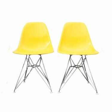 Vintage Eames for Herman Miller Pair of Lemon Yellow Shell chairs ~ Eames Eiffel shell chairs ~ Eames DSR chair ~ 1960s Eames chair set by GoodWilson