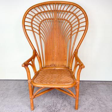 Old Florida Rattan Fan Back Chair