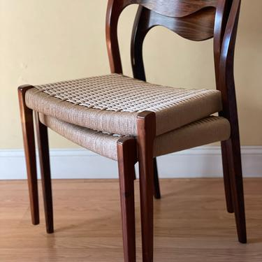 6 Moller Model #71 Dining Side Chairs, Rosewood sewood, new Danish Paper Cord natural by ASISisNOTgoodENOUGH