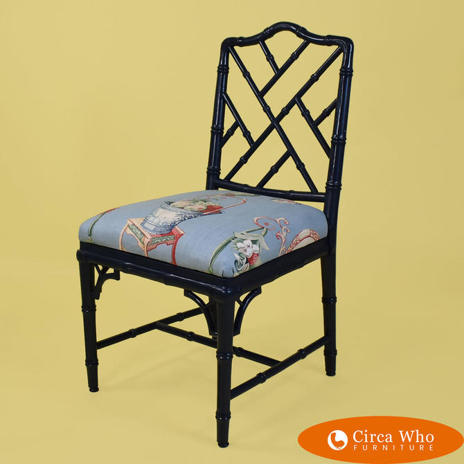 Single Faux Bamboo Chippendale Side Chair