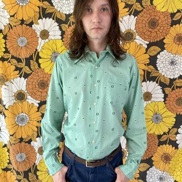 Soft Green Square Dot Dagger Collar Shirt!