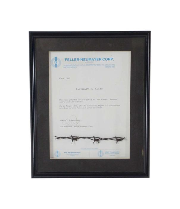 """Framed Barbed Wire from the """"Iron Curtain"""""""