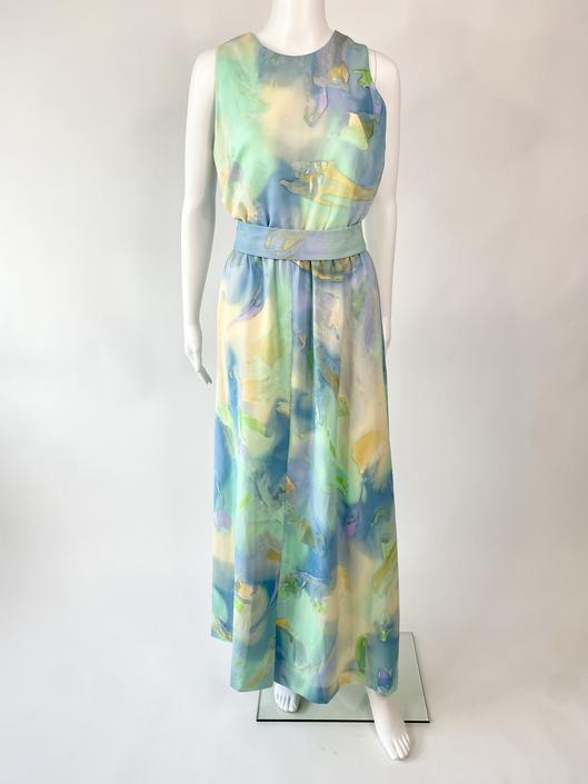 Aqua Watercolor Maxi Dress