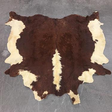Vintage Cowhide Rug 1980s Retro Size 77x79 JADAMS + Bohemian + Area Rug + Genuine Fur + Brown + White + Suede Lining + Home and Floor Decor by RetrospectVintage215