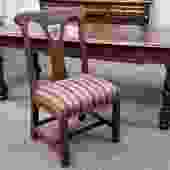 Item #TF12 Antique Quarter  Sawn Oak Library Table w/ Chair c.1910