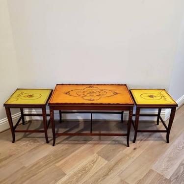 Mid-Century English Regency Adam Style Mahogany Hand Painted Nesting Tables - Set of Three - Coffee & Pair Side Tables by RabidRabbitAntiques