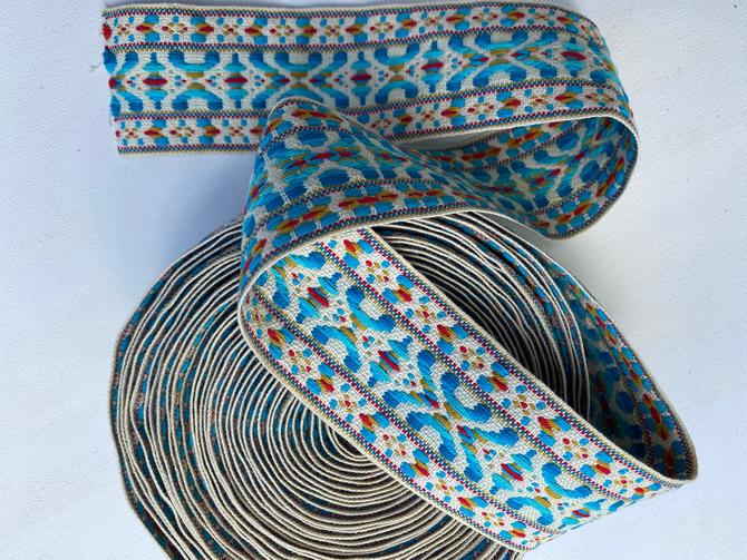 """Vintage Scandinavian 2"""" Trim, Guitar Straps, Aqua White And Red, 10 Yards, Sewing Trim, Drapery Trim by luckduck"""