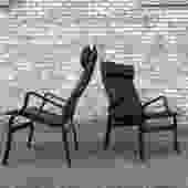 Danish Modern Tall Back Lounge Chairs