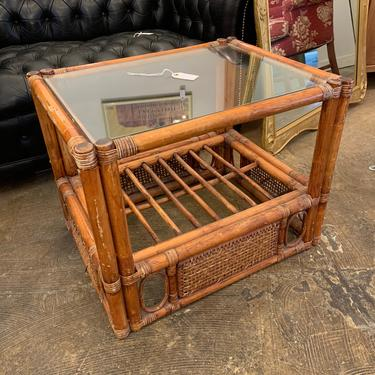 Vintage Rattan Bamboo Side Table by coloniaantiques