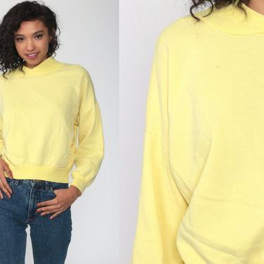 Yellow Sweatshirt 80s Oscar De La Renta Sweatshirt Pastel Mock Neck Plain Long Sleeve Shirt Slouchy 1980s Vintage Sweat Shirt Medium by ShopExile