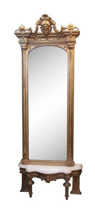 1870s Victorian Gilt Wood Figural Mirror with Matching Marble Top Table