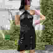 GEOFFERY BEENE 90s Black Lurex Lace + Sequin Halter Mini Dress