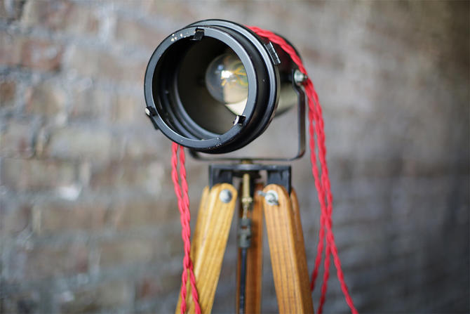 unique vintage industrial floor lamp: repurposed projector and surveying tripod by jeglova