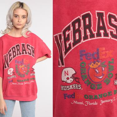 Nebraska Huskers Sweatshirt 1995 Orange Bowl University of Nebraska Sweatshirt Short Sleeve 90s College Shirt 1990s Vintage Large xl l by ShopExile