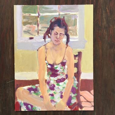 Young Woman In Sundress Portrait, Vintage Girl With Braids Oil Painting, Study Of Girl Original Art Unsigned by luckduck